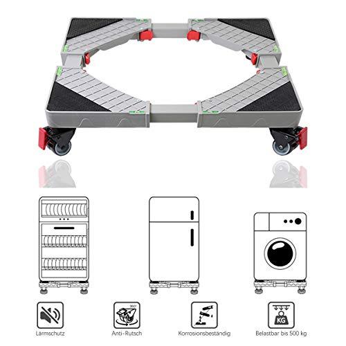 Allesin Waschmaschine Roller Trolley einstellbare Multifunktionsbeweglicher Für Trockner, Kühl Verstellbarer Sockel mit 4x2 drehbaren Gummi-Rädern -