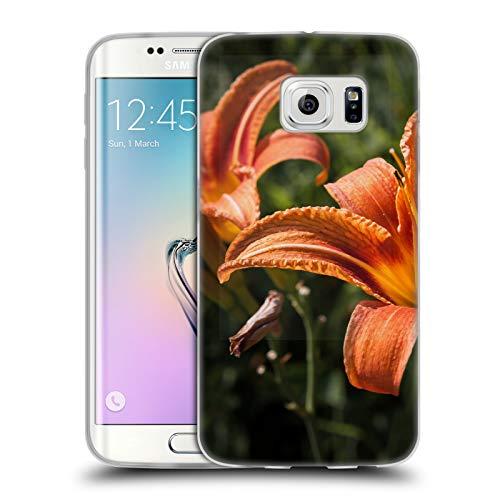Head Case Designs Offizielle PLdesign Orangen Gelbe Feuer Lilie Blumen Und Blaetter Soft Gel Huelle kompatibel mit Samsung Galaxy S6 Edge -
