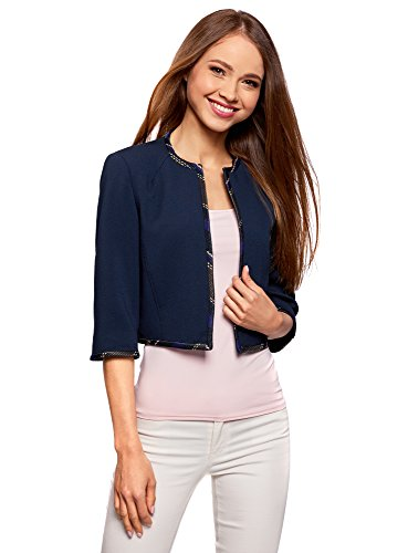 oodji Collection Donna Bolero con Finiture a Contrasto, Blu, IT 40 / EU 36 / XS