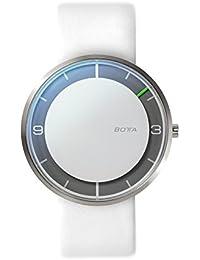 Botta Diseño de Nova Titanio Reloj de pulsera–einzeiger Reloj, titanio, esfera blanca, correa de piel