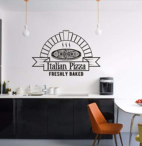 Baked Pizza Wall Sticker Pizza Shop Window Vinyl Decals Pizza Kitchen Decoration Pizzeria Food Wall Poster 86x57cm
