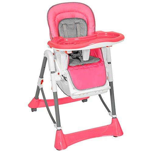 TecTake Kinderhochstuhl Babyhochstuhl höhenverstellbar mit abnehmbarem Essbrett - diverse Farben - (Pink | Nr. 400680)
