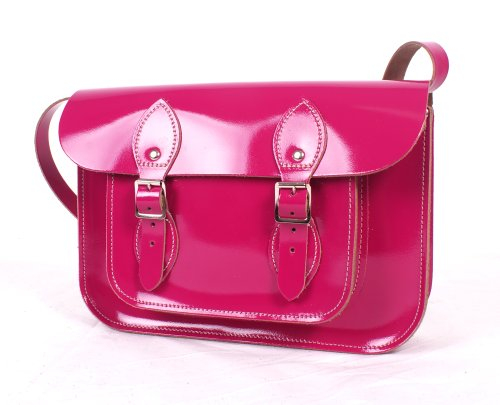 Leather Satchel's , Damen Satchel-Tasche Patent Fuchsia (Patent Handtasche Satchel)