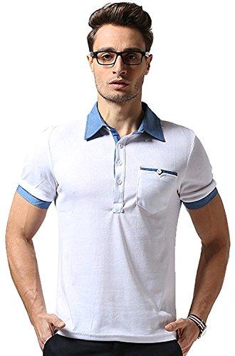 Pizoff Herren urban Basic schmale Passform Polohemd mit Kontrast denim Einsatz in Versch Farben B466-White-L