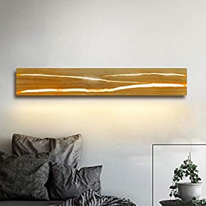 ZMH Holz Wandleuchte LED 8W Wandleuchte innen Holz Nachtlampe Nachtlampe warmweiß für Schlafzimmer Flur Treppe Innenbeleuchtung