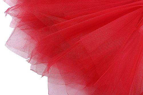 Kate Kasin 50er Petticoat Unterrock Vintage Underskirt Crinoline Wedding bridal Petticoat für Rockabilly Kleid KK447-3(Rot)