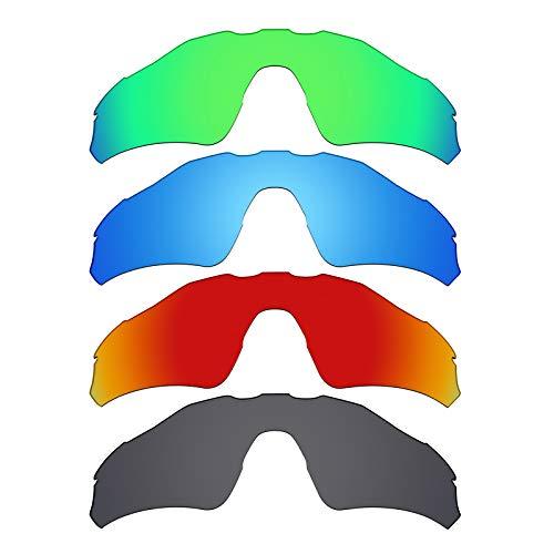 Mryok polarisierte Ersatzgläser für Oakley Radar EV Path Sonnenbrille - Stealth Black/Fire Red/Ice Blue/Smaragdgrün, 4 Paar