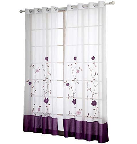 Bailey jo confezione di occhielli tenda con fiori ricamo trasparente tende in voile tenda, tessuto, violett, bxh 140x175cm