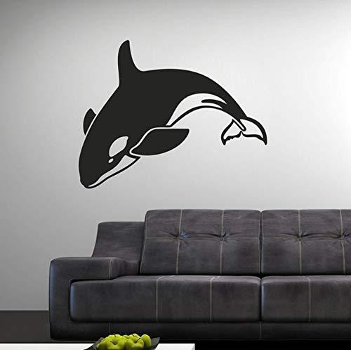 Hwhz 57X45 Cm Vinyl Wandaufkleber Dolphin Swing Muster Abnehmbare Wandtattoo Wohnzimmer Bett Wand Dekor