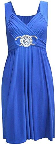Womens new plus size sangle tie knielangen ceinture a robe de soirée Bleu - Bleu roi