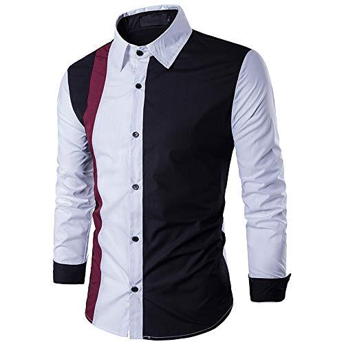 ZIYOU Langarm Patchwork Hemd Herren, Herbst Winter Slim fit Hemden Freizeithemd Business Party Hochzeit Sweatshirts Top für Männer(XL,Schwarz)