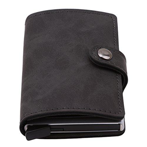 LnLyin Kreditkarteninhaber RFID Blocking Wallet Schlanke Brieftasche PU Leder Vintage Aluminium Visitenkartenetui Automatische Pop-up-Karte Fall Wallet Security Travel Wallet