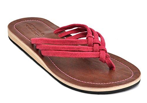 Amboss Damen Sandale mit Echt Leder Gr.36-43 Farbe: gelb, orange, pink, schwarz Pink
