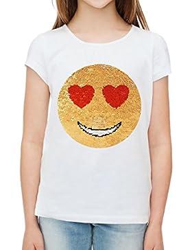 ZipZappa Lentejuela, emociones, Camisetas de manga corta de chicas, cara feliz del smiley amor.