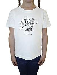 Bonsai Árbol Blanco Algodón Niña Niños Camiseta Manga Corta Cuello Redondo Mangas White Girls Kids T-shirt