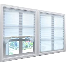 Grandekor Cortina plisada Estor plisado Cortable para puerta de ventana Filtración de la luz y mantenimiento de privacidad - Blanco - 1 Pack- 110 x 182 cm