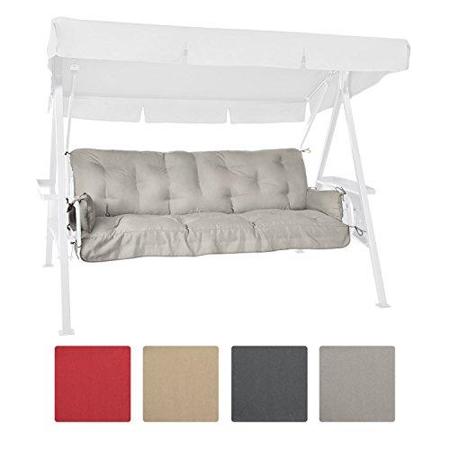 Beautissu Bench Cushion For Canopy Swing Seat Flair HS 180 x 50 x 8cm 3 Seat Hammock Cushion Flake Filling Light Grey