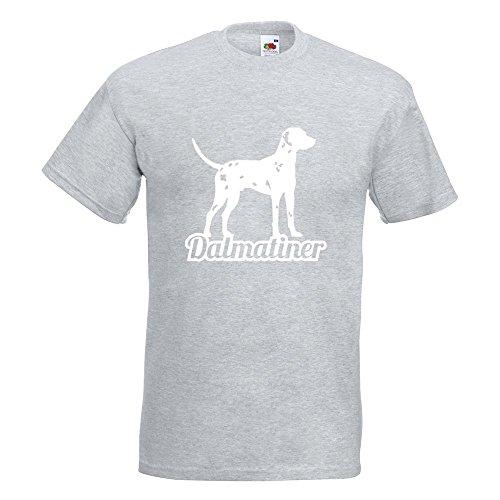 KIWISTAR - Dalmatiner mit Name Hunderasse T-Shirt in 15 verschiedenen Farben - Herren Funshirt bedruckt Design Sprüche Spruch Motive Oberteil Baumwolle Print Größe S M L XL XXL Graumeliert