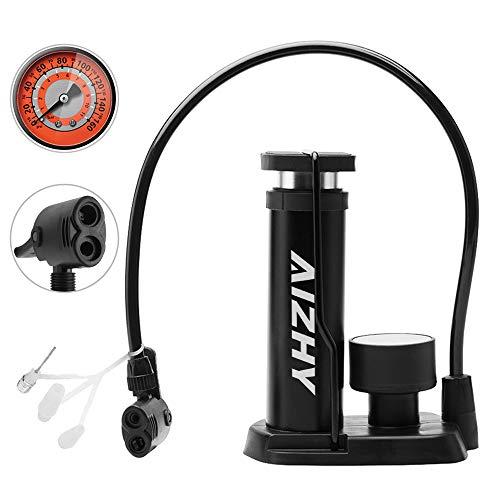 Aizhy Bomba de Bicicleta, Mini Bomba portátil de neumáticos de Bicicleta, Bomba de pie, manómetro, Aguja Inflable y válvula de inflado Compatible con la válvula Universal Presta y Schrader