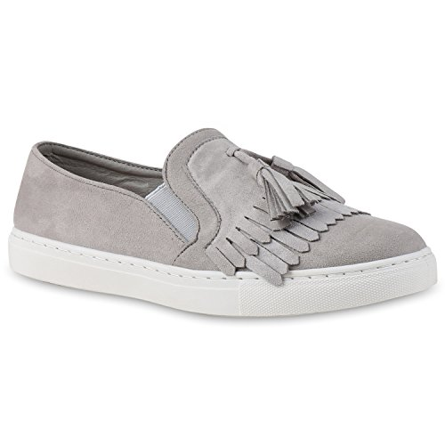 1a1e08bbbfd8 Damen Sneakers Slip-ons Lack Glitzer Metallic Slipper Schuhe Hellgrau  Velours Fransen