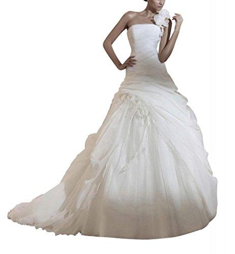 GEORGE BRIDE Elegante Pick-up Ballkleid mit Handmade-Blume auf der Schulter ,Groesse 48,Weiss (Pickup Ballkleid)