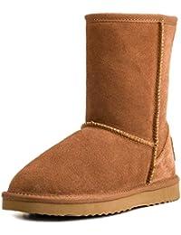 Shenduo Zapatos Invierno clásicos - Botas de Nieve de Piel de Media Pierna Impermeable Antideslizante para Mujer D5125