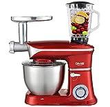 DMS 3 in 1 Küchenmaschine Rührmaschine 6,5 Liter Knetmaschine Edelstahlschüssel Spritzschutz...