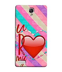 PrintVisa Designer Back Case Cover for Redmi Note (You are my Love Red heart pink)