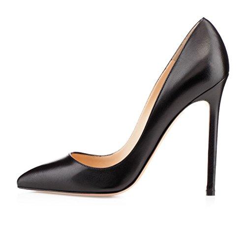 EDEFS Femmes Artisan Fashion Escarpins Délicats Classiques Elégants Pointus Chaussures à talon de 120mm Noir Noir Mat