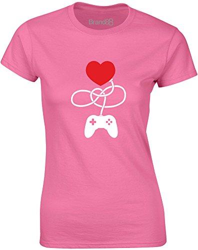 Brand88 - Control My Heart, Gedruckt Frauen T-Shirt Azalee/Weiß