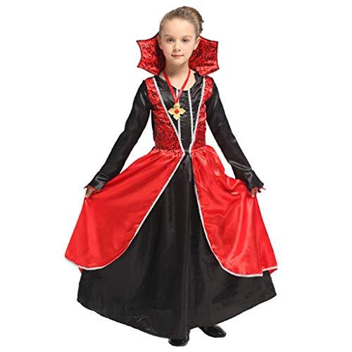 DONGBALA Mädchen-Vampir-Kostüm, Halloween-Outfit Prinzessin Robe Kostüm Outfit Horror Anzug Für Mädchen Kinder Mädchen Kleid & Kragen Höhe 110-140 cm 5-12 Jahre Enthält Rock/Halskette Rot,L (Girls Vampire Kostüm)