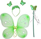 #9: Kala Decorators Fairy Butterfly Green Wings-Set of 3 has Magic Wand,Hair Band,Wings for Birthday,Fairy Tail Competition