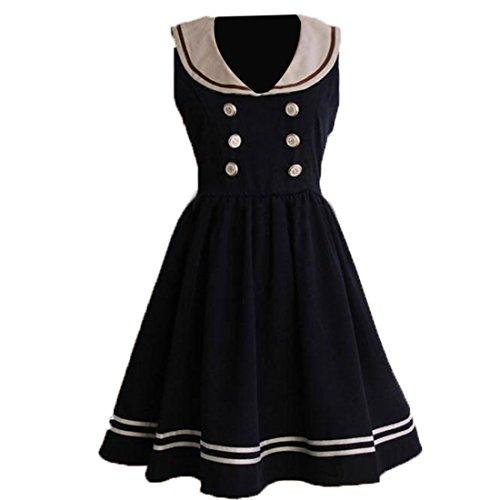 Doppel Breasted Lolita Einteiliges Kleid,L,Dark Navy (Dark Elf Cosplay Kostüme)