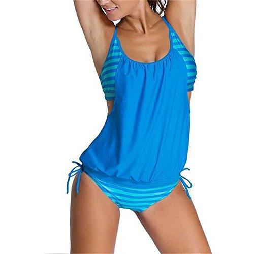 BAINASIQI Damen Elegant Bikini Set Tankini Padded Streifen Figurformend Badeanzug zweiteilig Sommer Strand Hellblau