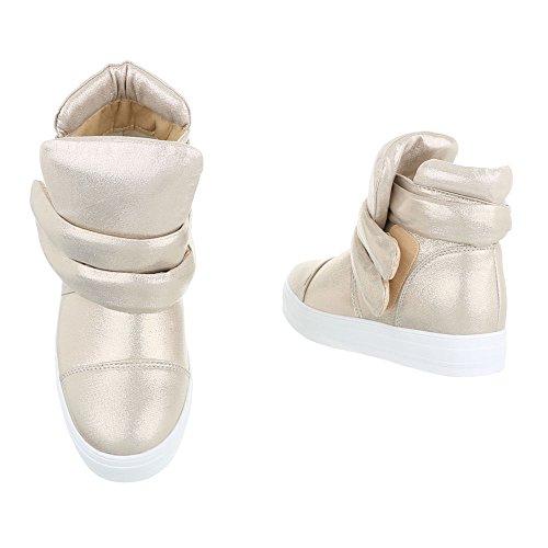 Klettverschluss Gold Komfort Damenschuhe Schlupfstiefel Design Stiefeletten Stiefeletten Ital xXaF05qX