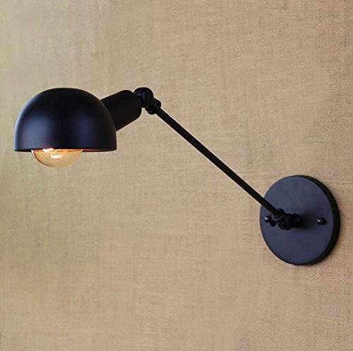 Wandlampe Ein Arm Einzelstück verstellbar Rocker LED industriell Metall-Wandleuchte E27 Eisen Lampenschirm Inneres Bett Leuchte