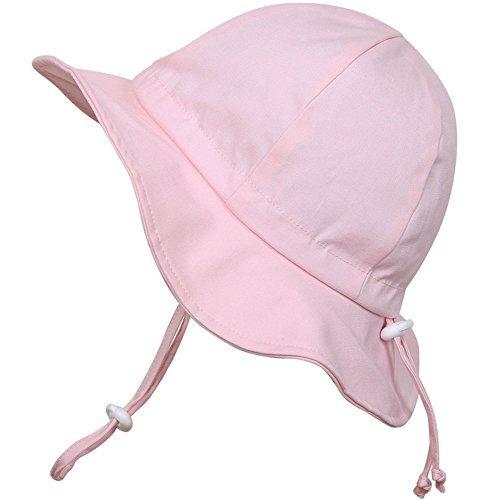 Mädchen-sonnenhut (Kleinkinder-Sonnenhut mit Kinnriemen, Kordelzug, einstellbare Kopfgröße, atmungsaktiv, UV-Schutzfaktor 50+ (M: 6m - 3J, Rosa))