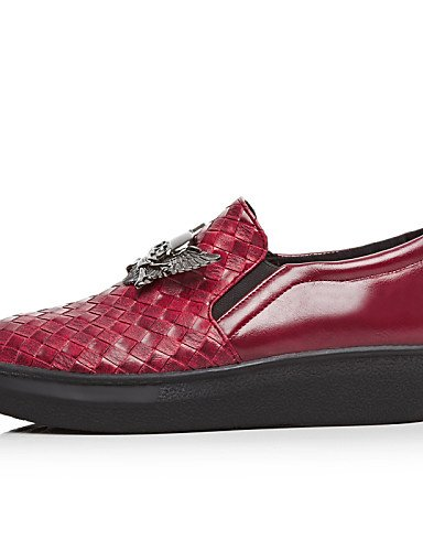 ZQ gyht Scarpe Donna - Mocassini - Formale - Punta arrotondata - Plateau - Finta pelle - Nero / Rosso / Argento , black-us5.5 / eu36 / uk3.5 / cn35 , black-us5.5 / eu36 / uk3.5 / cn35 red-us5.5 / eu36 / uk3.5 / cn35