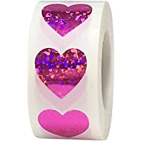 Heart Stickers, 19 mm 3/4 Inch Wide, 500 Labels on a Roll