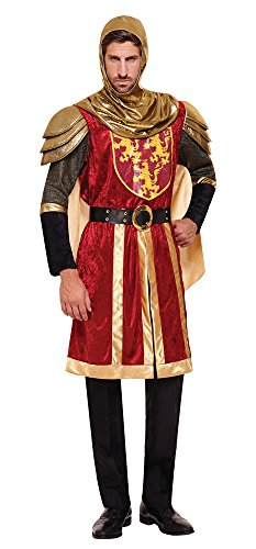 Männer Kostüm Ritter König Löwenherz Tafelrunde LARP Edle rot gold Einheitsgröße M/L - 3 teilig