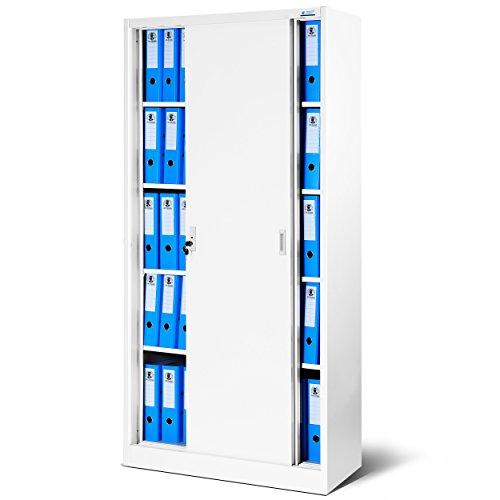 Jan Nowak by Domator24 Büroschrank mit Schiebetüren SD001 Stahlblech Fachböden Pulverbeschichtung abschließbar 185 cm x 90 cm x 40 cm (weiß/weiß) -