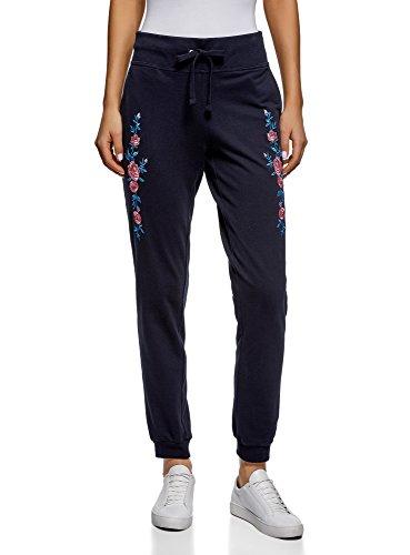 oodji Ultra Damen Jersey-Hose mit Stickerei, Blau, DE 40 / EU 42 / L