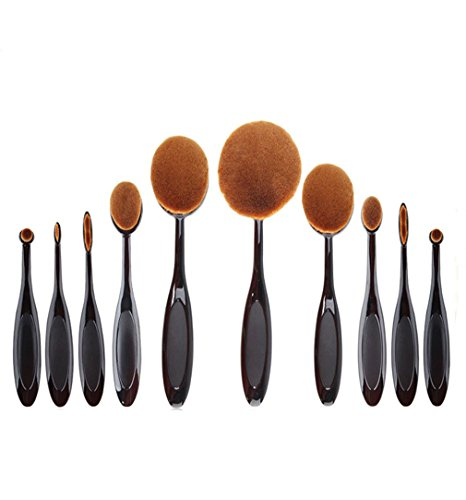 HENGSONG 10pcs/set Toothbrush Fondation Shape Sourcils Maquillage Kits Pinceau Poudre Pinceau