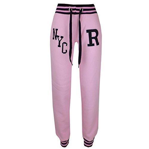 Mädchen Jungen Jogginghose Kinder Baseball Trackie Böden Jogging Hose Fleece Sport Hosen Neu Alter 2-13 Jahre - NYC Hellrosa, 134-140