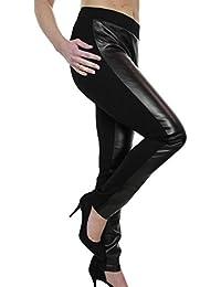 icecoolfashion Ice (1482) Pantalon Noir en Simili Cuir et Spandex pour  Grande Taille a138beeb8b42