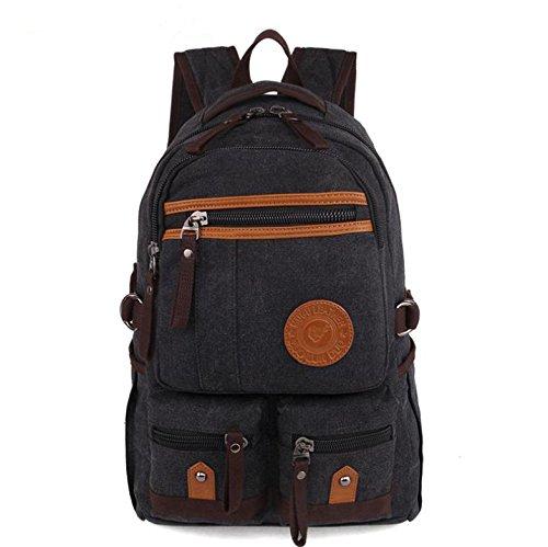 &ZHOU Borsa di tela, Retrò casual tela borsa a tracolla computer borsa zaino borsa uomini e donne moda , coffee color Black