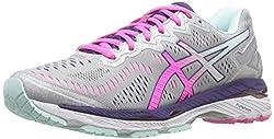 ASICS Womens Gel-Kayano 23 Running Shoe, Silver/Pink Glow/Parachute Purple, 8 2A US