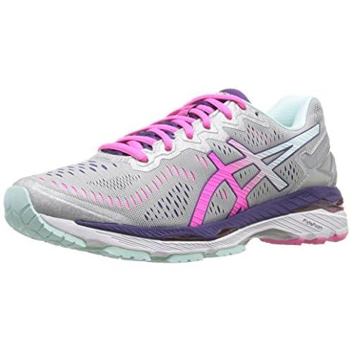 41VnmZd3auL. SS500  - ASICS Women's Gel-Kayano 23 Running Shoe, Silver/Pink Glow/Parachute Purple, 5.5 UK