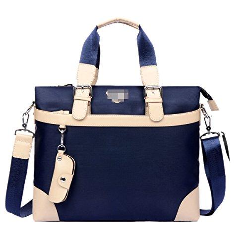 Wasserabweisend PU-Leder Groß Geschäftsleben Aktentasche Schultertasche Mehrere Fächer Herrentaschen,Blue-OneSize