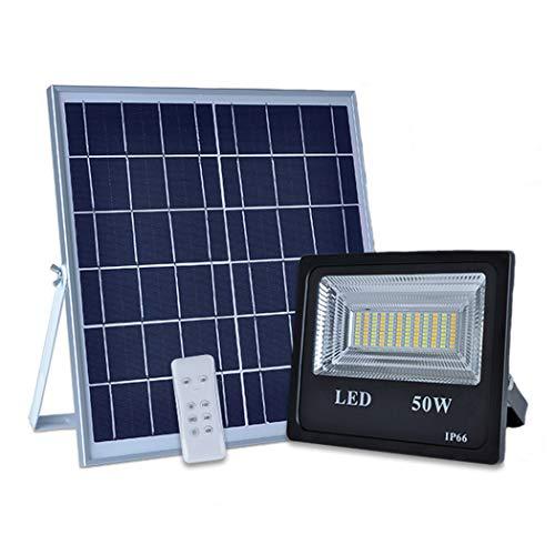 Faretto a LED con Pannello Solare, 6000LM 50W Faro LED Proiettore Telecomando, 3 Temperature di colore, Giorno Notte Auto-sensing, Timer, IP66 Impermeabile Lampade Solari per Giardino, G